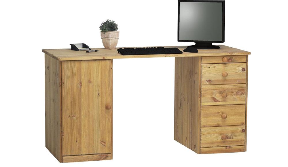 schreibtische schreibtisch kent gross kiefer gebeizt. Black Bedroom Furniture Sets. Home Design Ideas