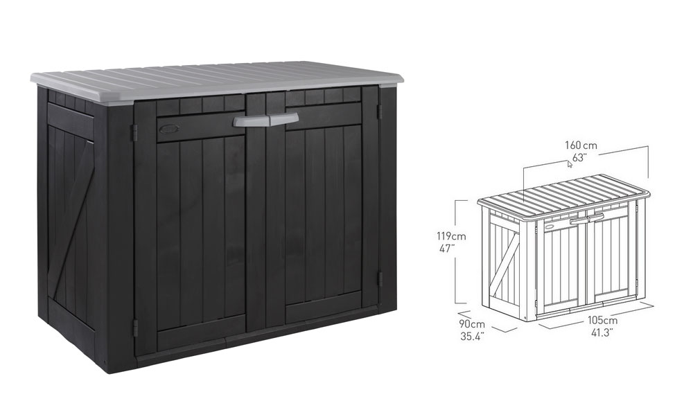 garten schrank lounge schwarz grau 160 x 90 x 118 cm. Black Bedroom Furniture Sets. Home Design Ideas