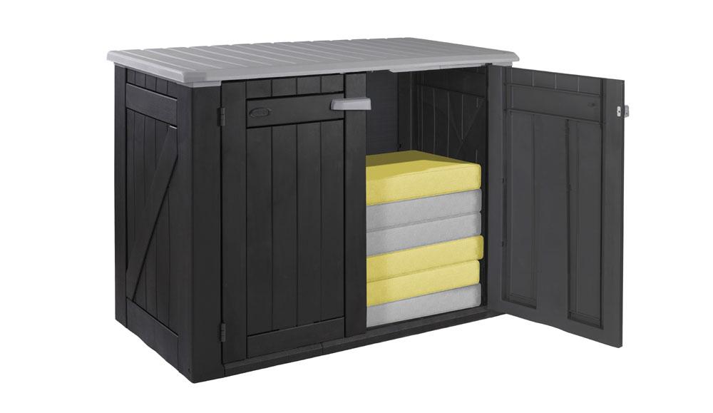 Garten: Schrank Lounge schwarz/grau 160 x 90 x 118 cm