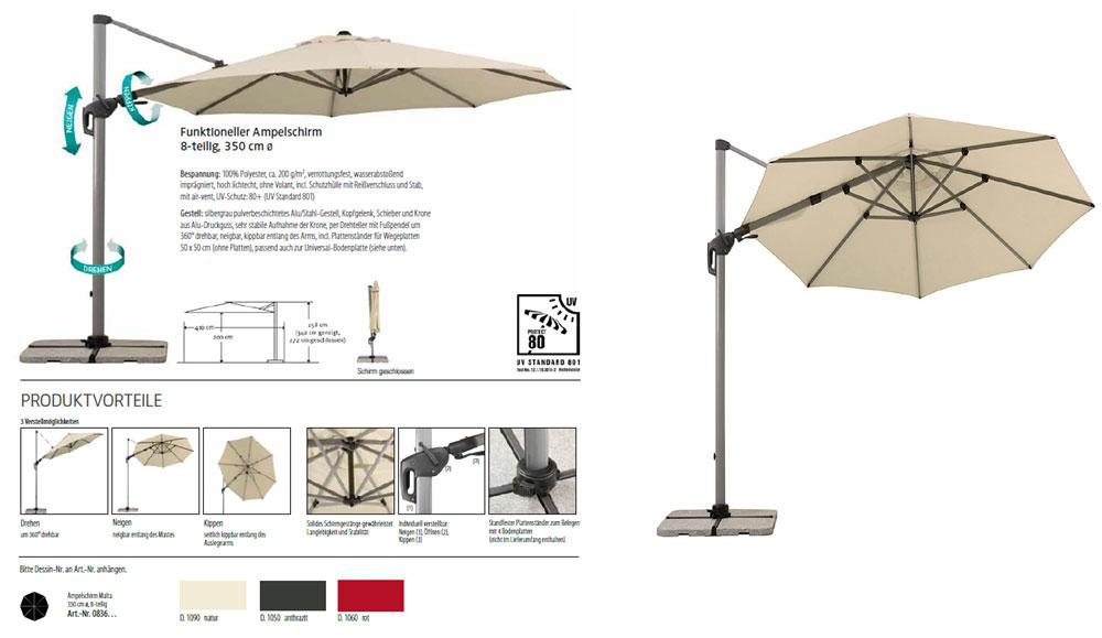 ampelschirm sonnenschirm malta. Black Bedroom Furniture Sets. Home Design Ideas